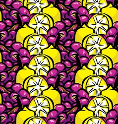 Lemon and grapes background vector