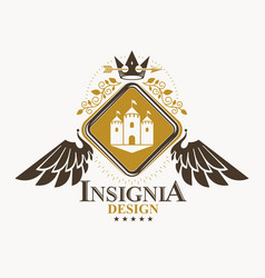 Heraldic sign made using vintage elements vector