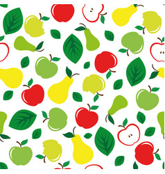 Apple and pear seamless pattern white background vector