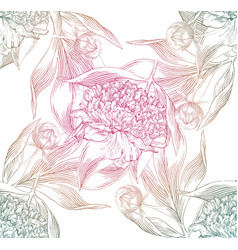 Ink hand drawn of ornate peonies pattern vector