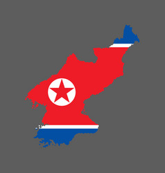 North korea map and flag vector