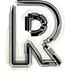 Technological font letter r vector