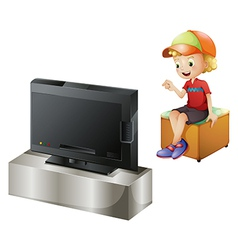 A happy kid watching tv vector