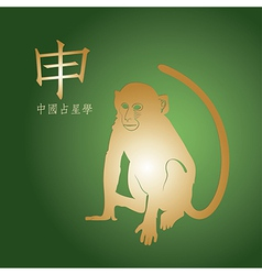 Golden monkey on a green background vector image