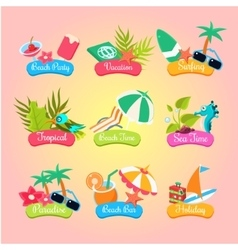 Summer party labels and elements set isolated vector