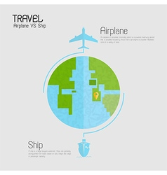Around the world travelling by plane vs ship vector