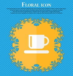 Coffee cup floral flat design on a blue abstract vector