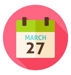 Easter calendar date march 27 circle icon vector