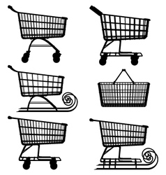 Supermarket cart pictogram vector
