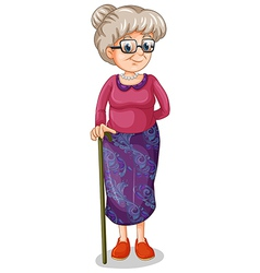 An old woman with a cane vector
