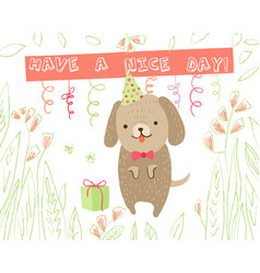 animal greeting card vector image vector image