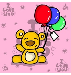 Bear with balloon valentine collection vector image