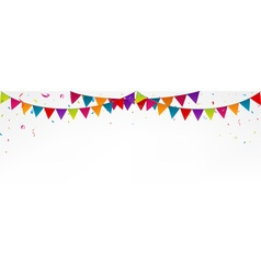 Birthday bunting flags with confetti vector