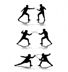 black silhouettes of athletes fencers vector image vector image