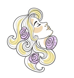 Blonde girl with roses in her hair on the white vector image