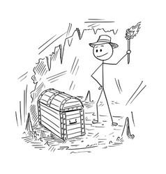 Cartoon of adventurer man who found a treasure in vector