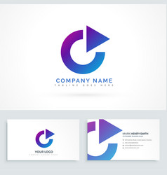 Circle arrow triangle logo design with business vector