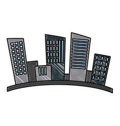 City urban buildings silhouette vector