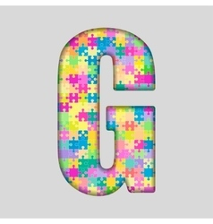 Color piece puzzle jigsaw letter - g vector
