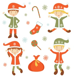 Cute santa helpers vector
