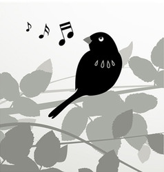 decorative bird with leafs vector image vector image