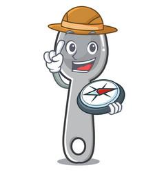explorer spoon character cartoon style vector image