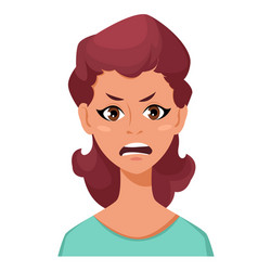 Face expression of a woman - anger female vector