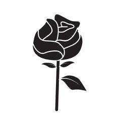 flat black rose icon vector image