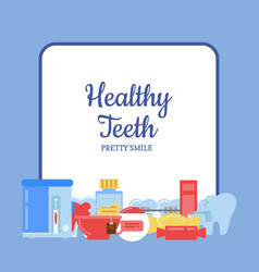 flat style teeth hygiene icons vector image vector image