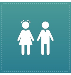 Girl and boy icon on background vector
