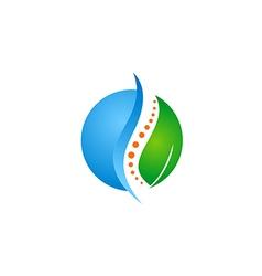 Green leaf medic health bone logo vector
