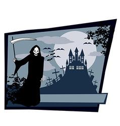 Grim reaper with halloween sign vector