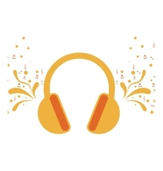 Headset stereo sound with swirls and musical notes vector