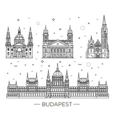 Hungarian travel landmark of historical buildings vector