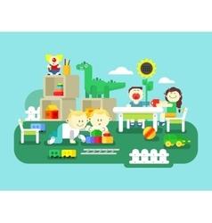 Kindergarten flat design vector image