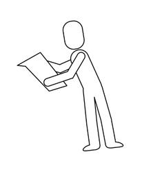 man reading pictogram icon vector image