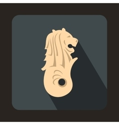 Merlion statue singapore icon flat style vector