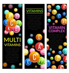 Multi vitamin complex pills banners vector