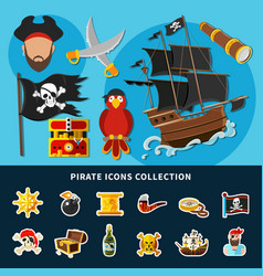 pirate icons cartoon collection vector image