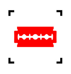 Razor blade sign red icon inside black vector