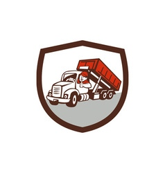 Roll-Off Bin Truck Driver Thumbs Up Shield Cartoon vector image
