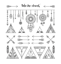 Set of boho line elements vector image