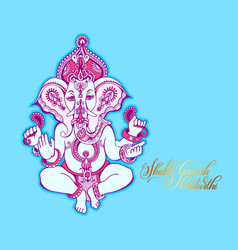 Shubh ganesh chaturthi greeting card to indian vector