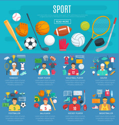 Sport game poster template with sporting equipment vector
