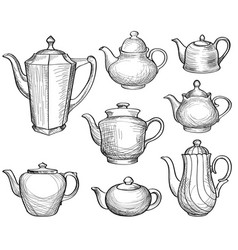tea kettles set teapots drawn collection coffee vector image vector image