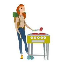 Traveler woman cooking steak on barbecue grill vector