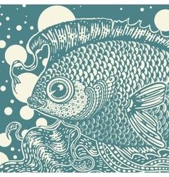 Vintage fish vector