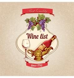 Wine list retro poster vector image vector image