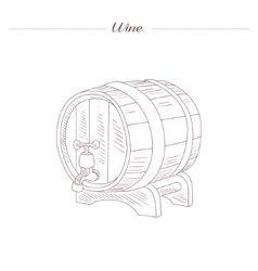 Wine Tun Hand Drawn Realistic Sketch vector image