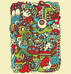 Hipster doodle monster collage background vector
